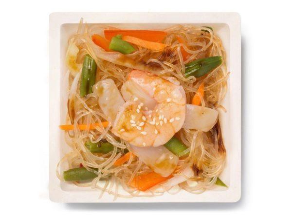Рисовая лапша с креветкой и кальмаром